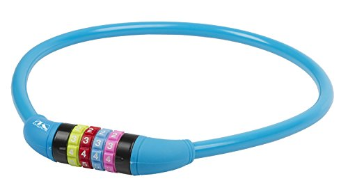Blue Wave Silicone (M-Wave DS12.65 Silicone 2 feet by 12 mm Combo Bike Lock, Blue)