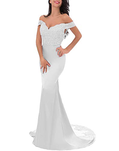 (Off-Shoulder Split Evening Gown Lace Mermaid Prom Dress Applique Bridesmaid Dress White US12 )