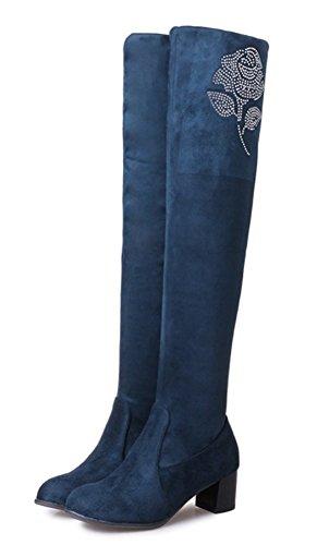 Bottes Haute Strass Genou Tige Femme Bleu Classique Aisun wzqaYa