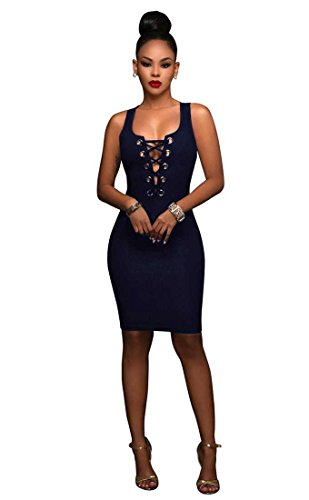Lace Women Party Sleeveless Bodycon Neck Scoop Dress Clubwear up Bandage Mini Navy FZOwqFBExr