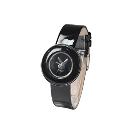 Playboy Black Leather Strap Ladies Designer Fashion Watch PB0270BK (Watch Playboy Ladies)