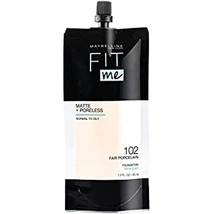 Maybelline New York Maybelline Fit Me Matte + Poreless Liquid Foundation, Face Makeup, Mess-Free No Waste Pouch Format, Normal to Oily Skin Types, 102 FAIR PORCELAIN, 1.3 Fl Oz