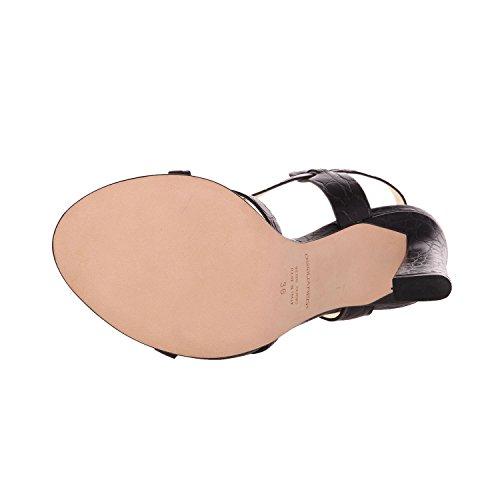 Dsquared2 Kvinnor Svart Präglat Läder Strappy Slingback Klänning Sandaler Skor Svart