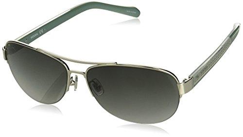 52s Rectangular Sunglasses, Shiny Silver/Gray Gradient, 60 mm ()