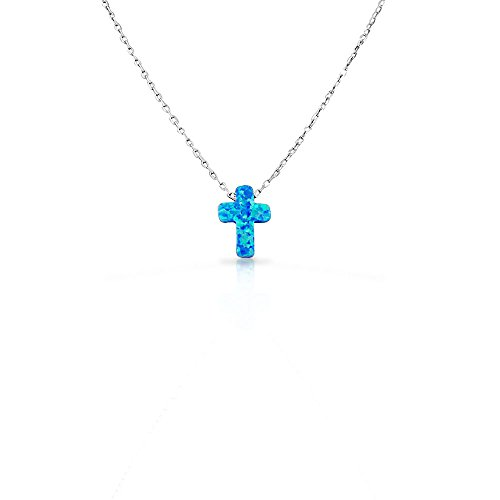 925 Sterling Silver Womens Religious Latin Cross Loose Blue Simulated Opal Turquoise-Tone Pendant Necklace