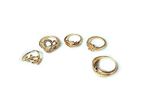 DesiDo - Juego de cinco anillos con diferentes diseños: corazón, corona, hoja de parra, símbolo de infinito, acabado dorado y plateado