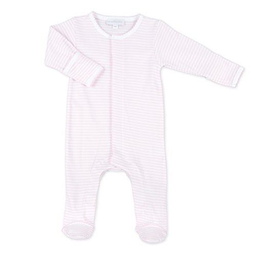 Magnolia Stripe - Magnolia Baby Baby Girl Stripes Essentials Embroidered Footie Pink Newborn