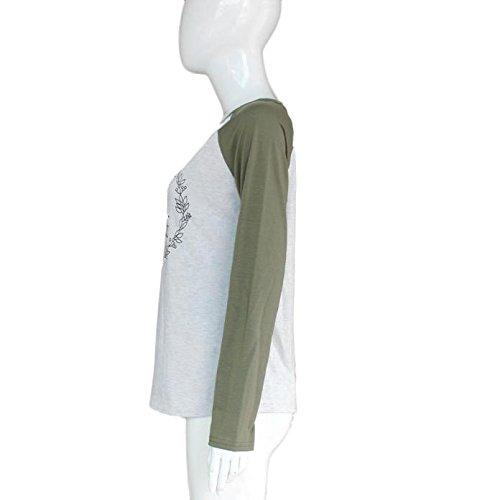 OverDose De cuello redondo Mujeres raya de la moda de algodón de manga larga Casual Tops Gris-3