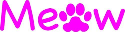 (WickedGoodz Pink Meow PAW Vinyl Window Decal Transfer - Cat Bumper Sticker - Perfect Cat Gift)