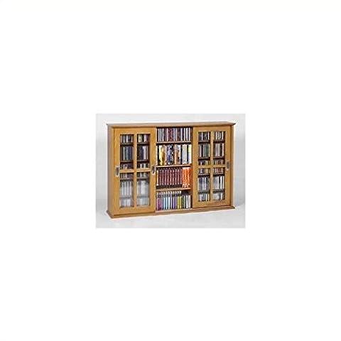 Leslie Dame MS-525 Wall Mounted Sliding Door Mission Style Media Storage Cabinet, Oak (Cd Cabinet Mission)