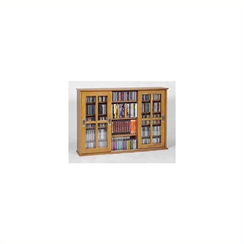 Leslie Dame MS-525 Wall Mounted Sliding Door Mission Style Media Storage Cabinet, Oak