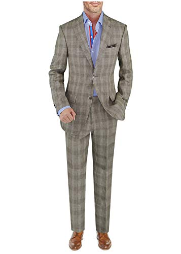 DTI BB Signature Italian Men's Suit Linen Two Button Jacket 2 Piece Modern Fit (44 Regular US / 54R EU/W 38