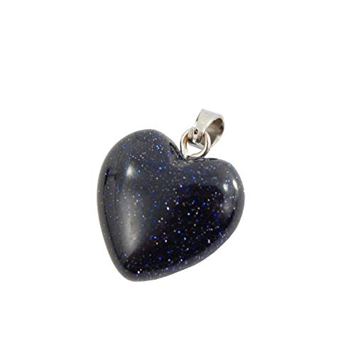 - Steampunkers USA Unchained Big Heart Collection - 16mm Classic Galaxy Goldstone Blue Black Sparkle - Pendant Only - Stainless Bail - Smelt Crystal Gemstone Carved Necklace Charm