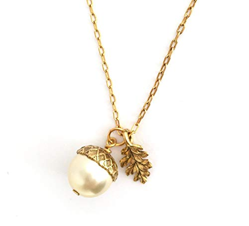 Gold Brass Acorn Pendant Necklace With Etched Leaf Charm - Pale Gold Simulated Pearl - 20 Inch Chain