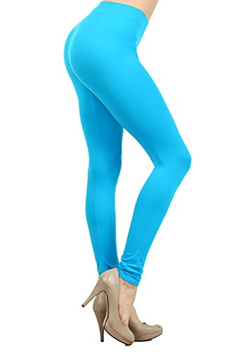 Neon Nation Colored Seamless Leggings Athletic Pants Costume Party Tights (Turquoise)