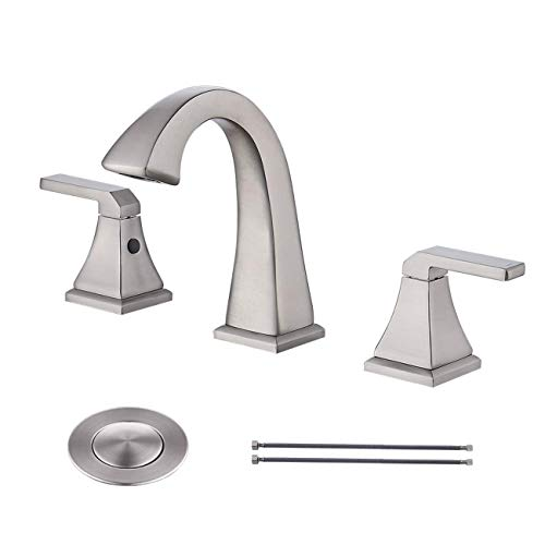 KES 8 Inch Widespread Bathroom Sink Faucet 2-Handle 3 Hole Lavatory Basin Vanity Brass Faucet Lead Free with Supply Lines and Drain Assembly, Brushed Nickel L4315LF-BN Classic Widespread Lavatory Set