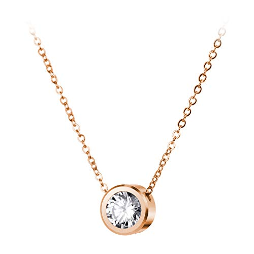 Steel Round CZ Cubic Zirconia Engraved Cut Solitaire Sparkly Bezel Set Halo Tiny Minimal Circle Fashion Accessory Jewelry Hanging Pendant Necklace, Pink Rose Gold ()