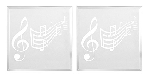 ThisWear Gifts Musician Gifts Musical Notes Symphony Gifts Woodwind Brass Percussion Musicians 2-Pack Engraved Acrylic Keepsake Paperweight Plaque