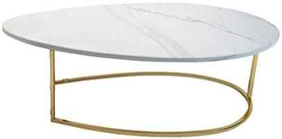 DXJNI Juego de Mesa de café para Sala de Estar Moderna, Bandeja de Hierro Forjado, encimera de mármol Natural, Ovalado, Blanco (80 × 40 × 42 cm) Mesas de Centro: Amazon.es: Hogar