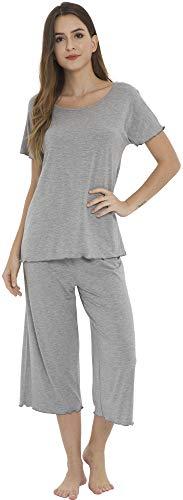 (LazyCozy Women's Short Sleeve Capri Pants Pajamas Set, Heather Grey, Small)
