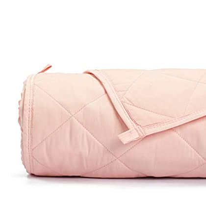 Image of Simple Being Weighted Blanket, 48x72 12lb, Patented 9 Layers Design, Cooling Cotton, Adult Heavy Calming Blanket, Shell Pink Simple Being B07LGY2MLK Weighted Blankets