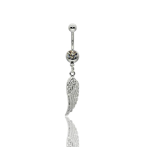 Jewels Fashion Surgical Steel Angel Wing Belly Ring (White)