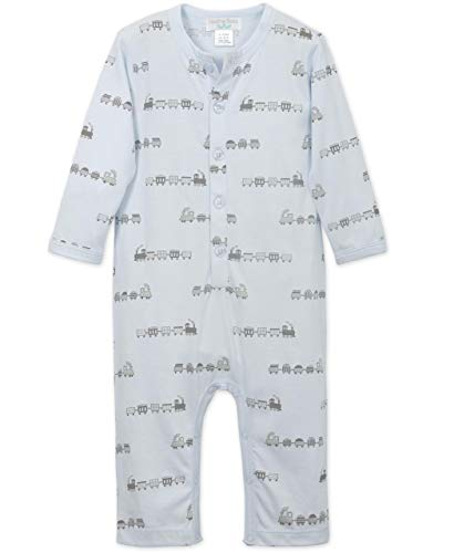 - Feather Baby Little Boys Pima Cotton Long Sleeve Long John Baby Romper, 6-9 Months, Trains-Grey on Baby Blue