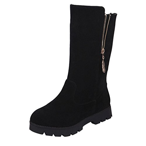 Boots Quality Ugg High (Creazy Women Buckle Ladies Faux Warm Knight Boots Flat Martin Shoes (Black, 42))
