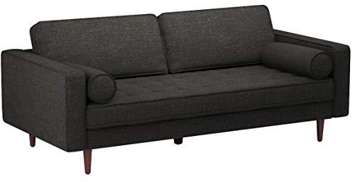 Rivet Aiden Mid-Century Sofa with Tapered Wood Legs, 74″W, Dark Grey - 8