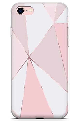 e 8 Case, Luxury Designer Pink White Geometric Marble Phone Case by Casechimp | Clear Ultra Thin Lightweight Gel Silicon TPU Protective Cover | Cute Pink Stone Girls Trendy ()