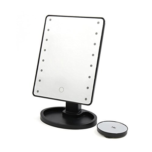 DealMux Black Shell 16 LEDs Lighted Touch Screen Tabletop Bathroom Makeup Cosmetic Mirror