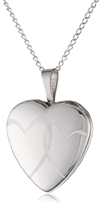Sterling Silver Double Hearts Locket Pendant Necklace, 18""