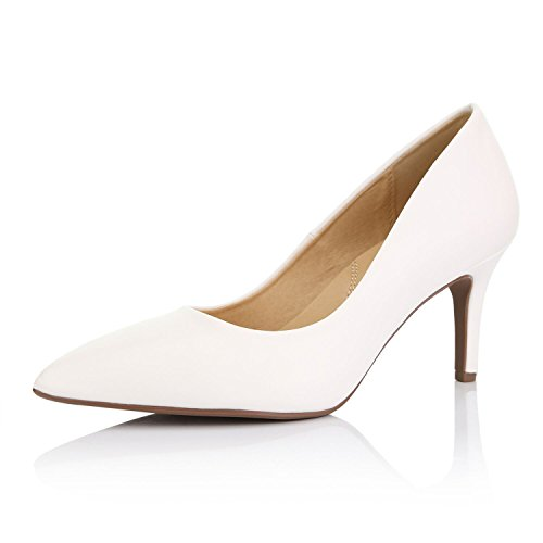 DailyShoes Women's Comfortable Elegant high Cushioned Low Heels Pointy Close Toe Stiletto Pumps Shoes, White PU, 10 B(M) US ()