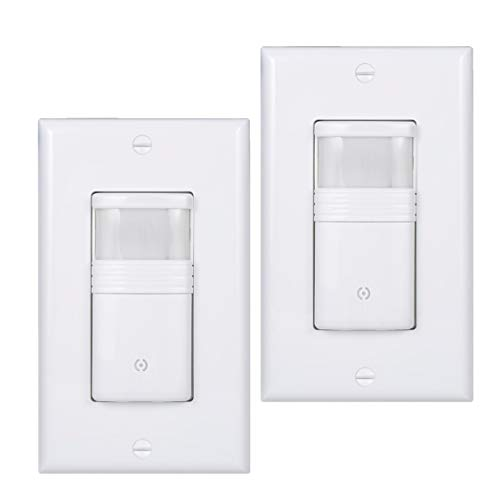 (Pack of 2) White Motion Sensor Light Switch - NEUTRAL Wire Required - Single Pole Only (Not 3-Way) - For Indoor Use - Vacancy & Occupancy Modes - Title 24, -