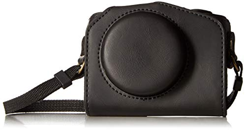 CEARI Vintage Leather Camera Case Bag with Strap for Canon Powershot G7X, G7X Mark II DSLR Camera - Black (Cannon G16 Camera Case)