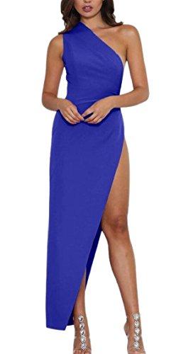 Women Shoulder 1 s Party One Sleeveless Jaycargogo Dress Prom Sexy Maxi Slit dAw7Pyq