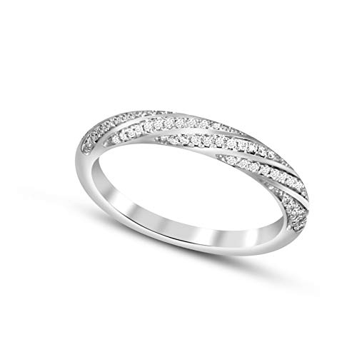 100% Pure Diamond Ring Friendly Diamonds 0.13 ct Diamond Ring 10K White Gold Round Cut SI-GH Quality Real Diamond Ring For Women (1/8 ct, Diamond Ring) (Jewelry Gift For Women)
