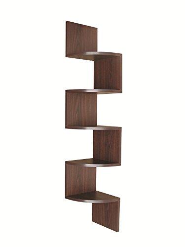 EWEI'S HomeWares 5 Tier Large Corner Wall Mount Shelf,New Walnut New Contemporary Walnut Finish Wood