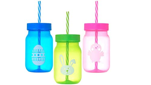 Plastic Tumblers - Tumbler With Straw (3 Pack) Fun Easter Colors and Safe To-Go Travel Mugs with Lid Straws - Safe Kids Cups - Drinking Glasses - Plastic Cups