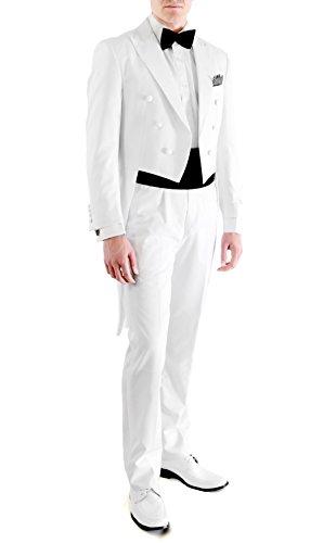 46L Ferrecci White 2pc Regular Fit Tail Tuxedo (White Long Tail Tuxedo)