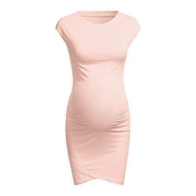 POPNINGKS Women Casual Pregnant Dress Short Sleeve Pregnant Nursing Clothes Maternity Dress Solid Print Dresses: Clothing