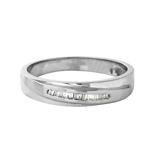 0.1 Carat Natural Diamond 14K White Gold Wedding Band for Women Size 6.5 (0.1 Ct Baguette Diamonds)