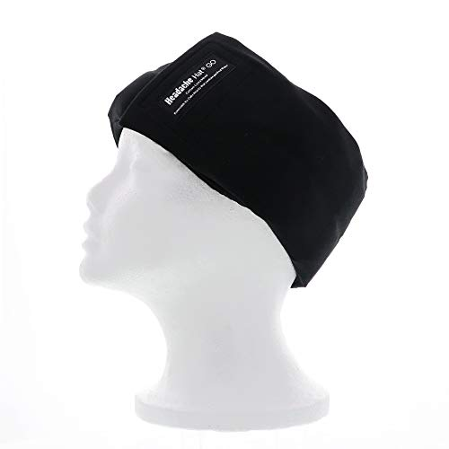 Tension Relief Wrap - Headache Hat- GO (Black) Ice Pack for Migraine Headaches and Tension Relief, Extra Ice Mat Included