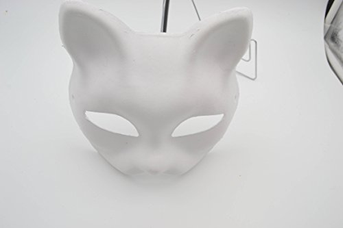 Cat Masks for Kids [10 PACK] - Paint your own - DIY Arts & Crafts for Children [Boys or Girls] - Great for a Halloween Fun