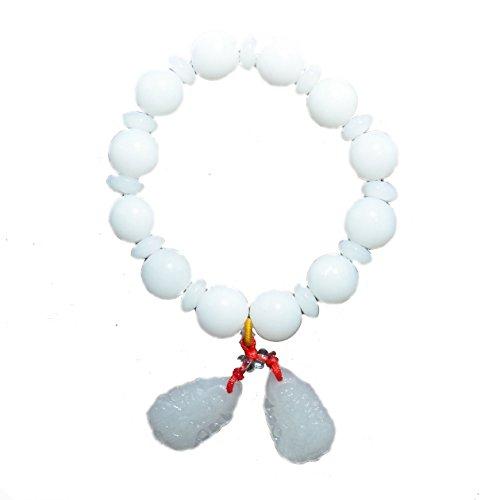 White Quan Yin, Guan Yin, Kuan Yin Pendants Wrist Mala Handmade Stretch Bracelets (BC10066)