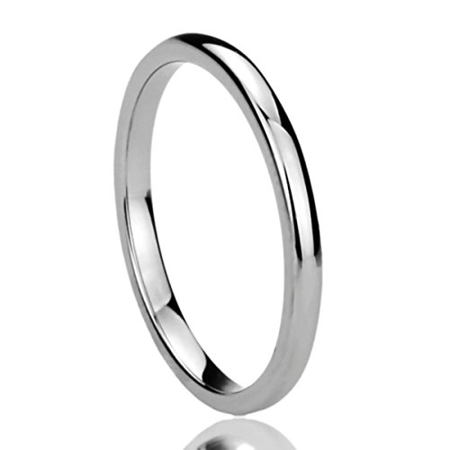 2MM Stainless Steel Womens Rings High Polished Classy Domed Comfort Fit Wedding Bands