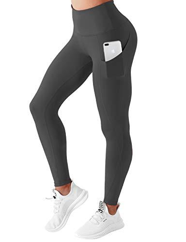 BUBBLELIME High Compression Yoga Pants Out Pocket Running Pants High Waist Power Flex Yoga Leggings UPF30+, Bwwb010 Shadowcharcoal, Medium