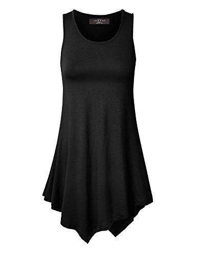 MBJ WT671 Womens Handkerchief Hem Tank Tunic Top L BLACK