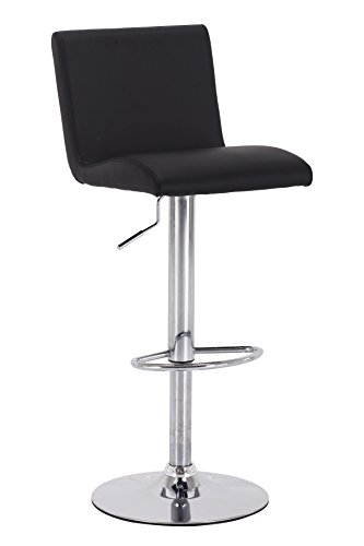 Vogue Furniture Direct Vogue Furniture Black Leather Teardrop Footring Barstool (Bar Stool Single Foot Ring)