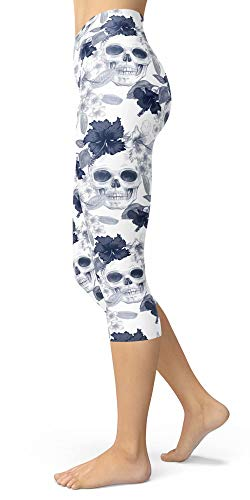 - Women's Sugar Skull Printed Cropped Capri Leggings Buttery Soft Tights (One Size(XS-L/Size 0-12), Palm Skull)